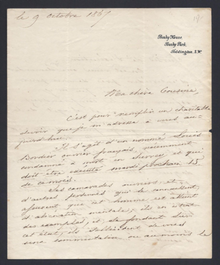 Duc de Nemours Signed Letter to Queen Victoria for Prisoner Clemency 1867